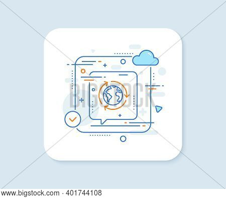Global Business Line Icon. Abstract Vector Button. International Outsourcing Sign. Internet Marketin