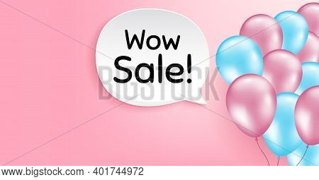 Wow Sale. Pink Balloon Vector Background. Special Offer Price Sign. Advertising Discounts Symbol. Bi