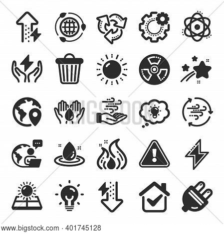 Energy Icons. Solar Panels, Wind Energy And Electric Thunder Bolt. Fire Flame, Hazard, Green Ecology