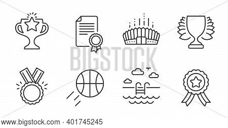 Winner Ribbon, Basketball And Winner Line Icons Set. Arena Stadium, Certificate And Honor Signs. Vic