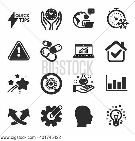 Set Of Science Icons, Such As Report Diagram, Safe Time, Online Statistics Symbols. Chemistry Lab, Q
