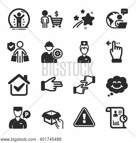 Set Of People Icons, Such As Click Hands, Report, Recovered Person Symbols. Buyer, Valet Servant, Do