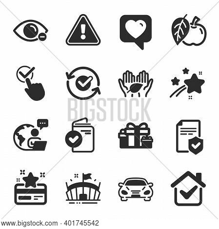 Set Of Business Icons, Such As Fair Trade, Loyalty Card, Approved Symbols. Insurance Policy, Apple,