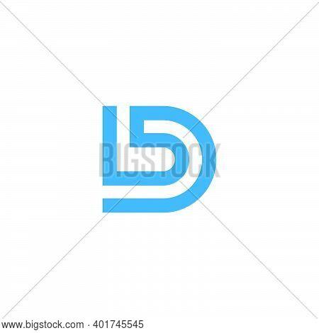 Letter Bd Simple Stripes Geometric Linear Logo Vector