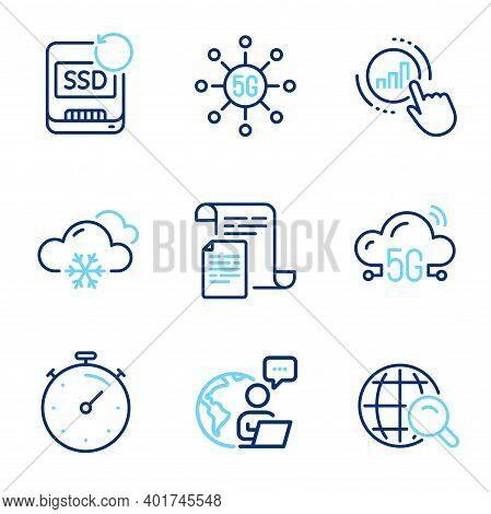 Science Icons Set. Included Icon As Internet Search, 5g Cloud, Documents Signs. Snow Weather, Graph