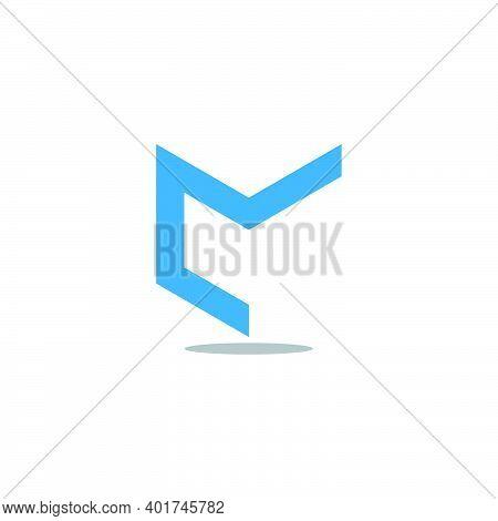Vector Of Letter Cm Simple Geometric Line Flat Logo