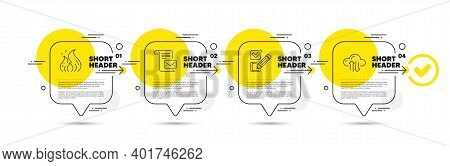 Mail Letter, Checkbox And Fire Energy Line Icons Set. Timeline Infograph Speech Bubble. Cloud Sync S