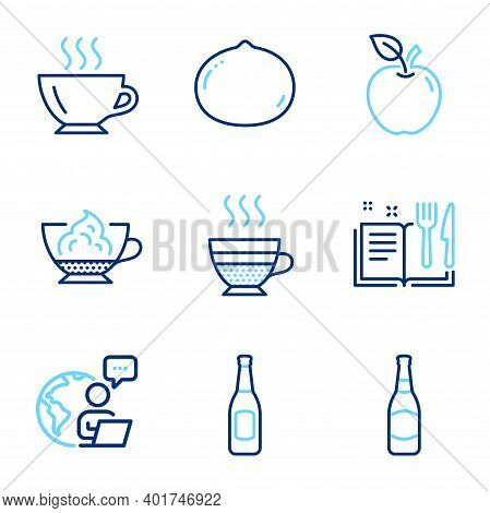 Food And Drink Icons Set. Included Icon As Coffee, Beer Bottle, Apple Signs. Espresso Cream, Macadam