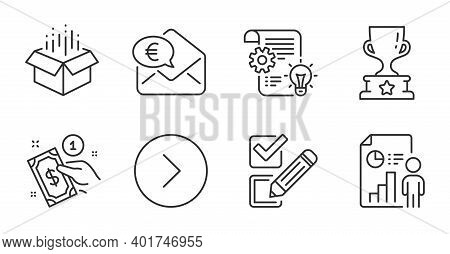 Forward, Euro Money And Winner Cup Line Icons Set. Cogwheel, Payment Method And Business Report Sign