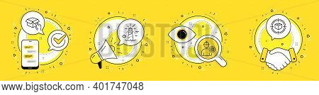 Lighthouse, Engineer And Hold Box Line Icons Set. Cell Phone, Megaphone And Deal Vector Icons. Parce
