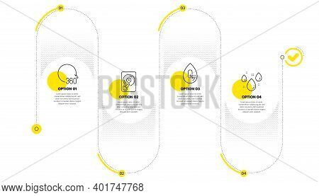 Hdd, 360 Degrees And No Alcohol Line Icons Set. Timeline Process Infograph. Rainy Weather Sign. Memo