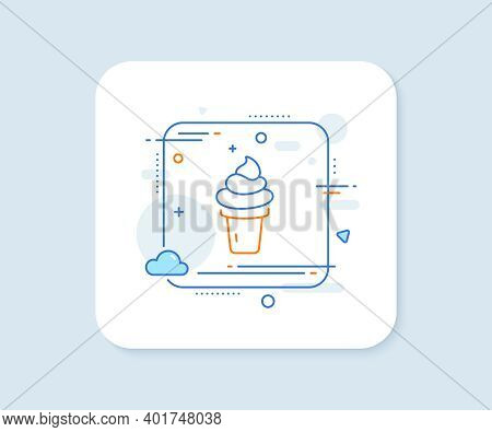 Ice Cream Cone Line Icon. Abstract Square Vector Button. Vanilla Sundae Waffle Cone Sign. Frozen Sum