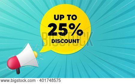 Up To 25 Percent Discount. Background With Megaphone. Sale Offer Price Sign. Special Offer Symbol. S
