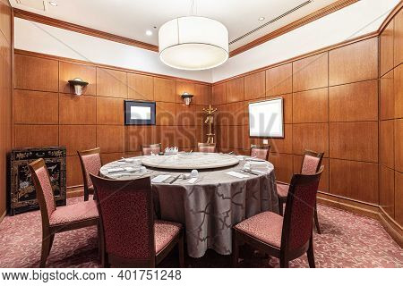 Round Dining Table, Rotatable Chinese Style Restaurant And Dining Chairs In Elegant Chinese Dining R