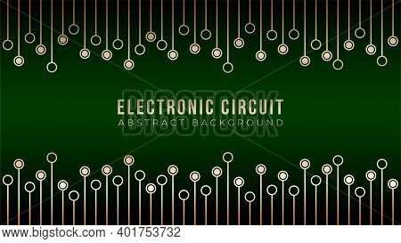 Gold Circuit Board Trees Texture On Dark Green Color Bakcground. Abstract Motherboard Vector Illustr