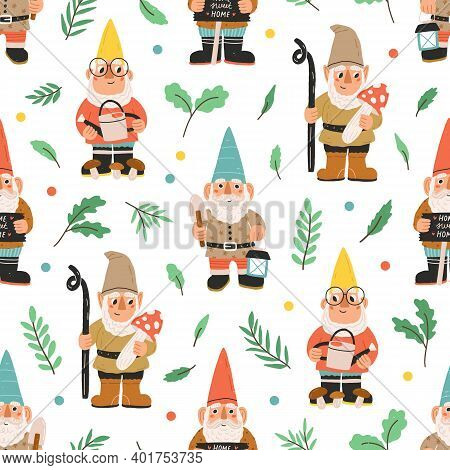 Seamless Pattern With Bearded Gnomes, Dwarfs, Elves, Plants, Leaves And Colorful Dots On White Backg