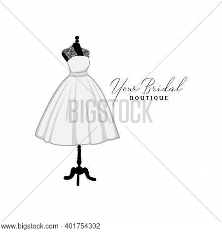 Beautiful Laces Short Gown, Bridal Boutique Logo, Bridesmaid Gown Logo Vector Design Template