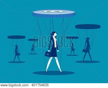 Businessman Is Controlled By Money. Slave Of Money. Vector Illustration Business Concept