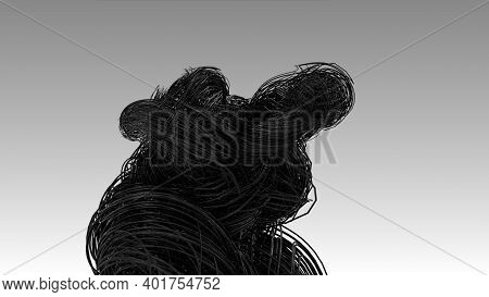 Dark Fiber Optics Cables, Hyper Realistic Multiple Twisted Wires Or Cables Isolated On Light Grey Ba