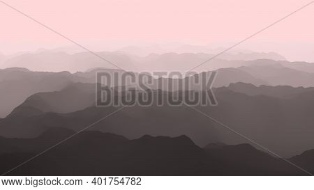 Aerial View Of Majestic And Dramatic Foggy Mountains , Flight Over Mountains, 3d Render