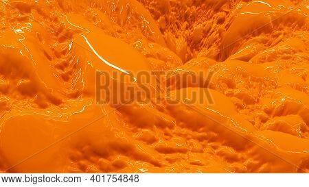 Closeup Of Orange Flowing Liquid, 3d Render