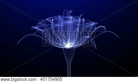Flower With Nice Glowing Effect, Closeup View, 3d Render