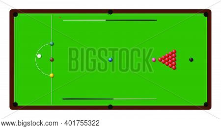 Snooker Billiard Table With Lines And Ball. Sports Design Element. Snooker Competition. Vector