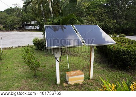 Solar Cell Panel For Made Electricity At Garden Outdoor At Stupa Museum Of Monk Luang Pu Khao Ananyo