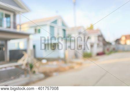 Housing Subdivision Or Housing Development Blur Background.