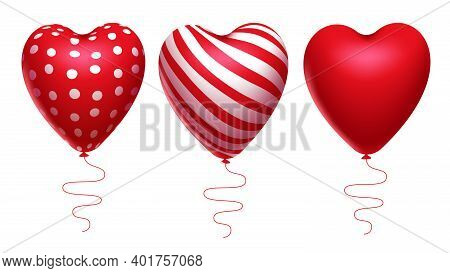 Hearts Valentine Element Vector Set. Red And White Heart Balloons Element Isolated In White Backgrou