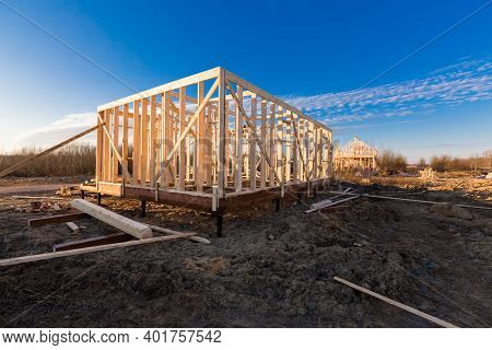 New Residential Construction Of Wooden Frame House. Roofing Construction. Wooden Construction. Const