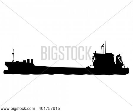 Large container ship is sailing on the sea. Isolated object on white background