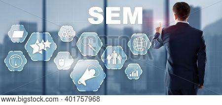 Sem Search Engine Optimization Marketing Ranking Traffic Website Technology Communication Concept.