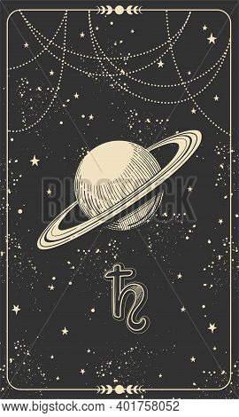 Astrological Chart With Planet Saturn And Cosmic Black Background With Stars, Hand Drawn Divination