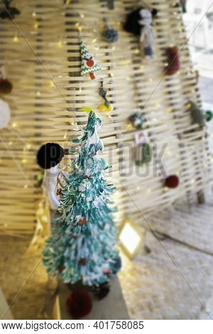 Christmas Ornaments Decorated In Street Market, Stock Photo