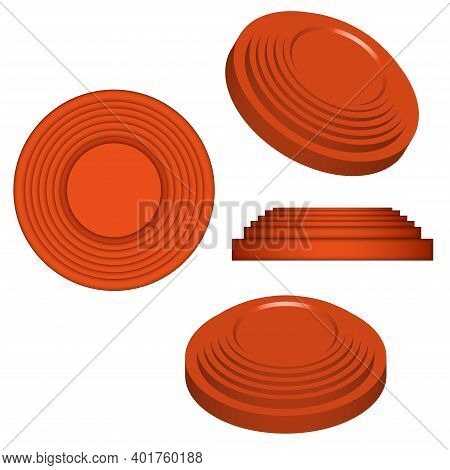 Clay Targets Isolated On White, Orange Plates For Clay Pigeon Shooting, 3d Vector Model Isometric Sh