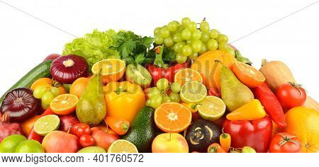 Collection of multi-colored fruits and vegetables isolated on white background.