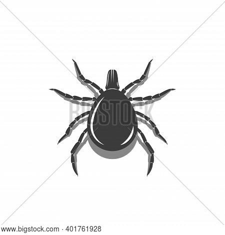 Encephalitis Mite Warning Sign, 3d Silhouette Of A Bloodsucker Insect