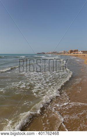 La Mata Spain Beautiful Beach With Waves Near Torrevieja Costa Blanca