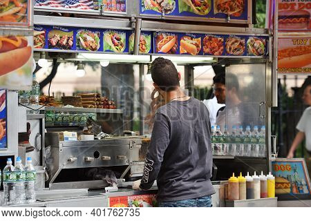 New York City - August 23: Street Food Cart In Manhattan On August 23, 2017 In New York City, Ny. Ma