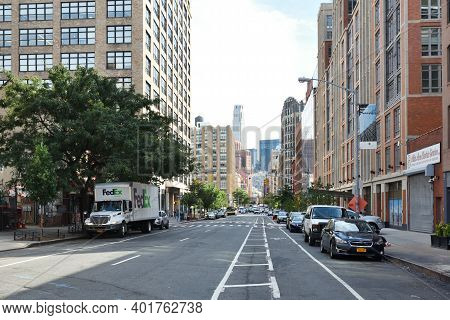 New York City - August 23: Street In Manhattan On August 23, 2017 In New York City, Ny. Manhattan Is
