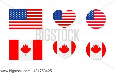 Canada And Usa Flags. North America. Canadian And American Friendship. Icon Of Maple For Canada. Ico