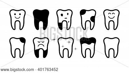 Icon Of Health Tooth And Tooth With Pain. Clean, Broken And Caries Teeth. Shiny Or Bad Teeth. Black