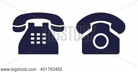 Phone Icon. Old Telephone For Office. Retro Rotary Phone Isolated On White Background. Symbol Of Web