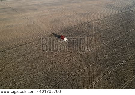 Lonely Standing House In The Middle Of A Field Top View From A Drone.