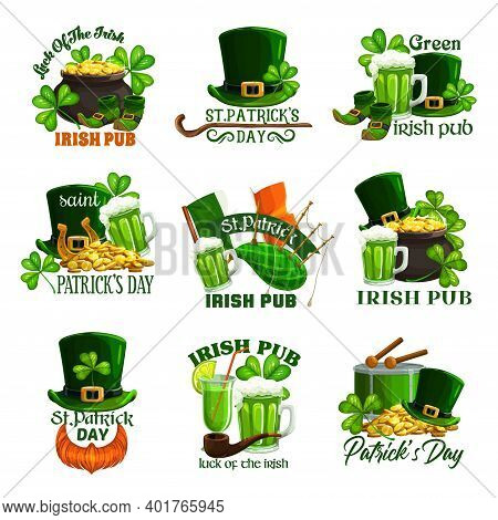 St Patricks Day Holiday Isolated Vector Icons. Irish Pub Green Beer, Clovers, Leprechaun Gold Pots A