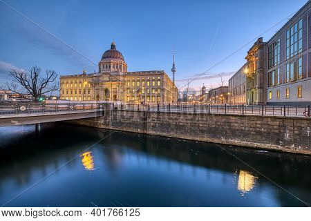 The Reconstructed Berliner Stadtschloss With The Television Tower At Dawn