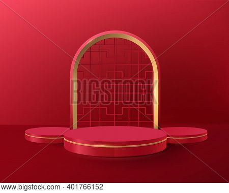 3d Red And Gold Circle Shape Podium Display With Vintage Chinese Frame. Chinese New Year Banner Or G