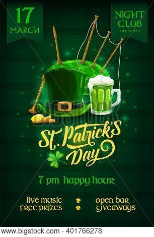 St. Patricks Day Party Flyer With Cartoon Vector Leprechaun Hat, Ireland Ale, Gold Coins, Shamrock A