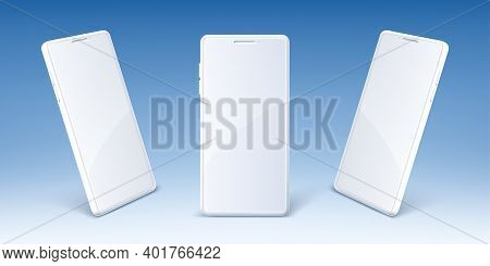 White Mobile Phone With Blank Screen In Front And Perspective View. Vector Realistic Mockup Of Moder